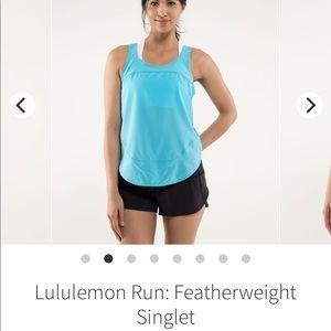 LuluLemon Featherweight Singlet Tank Blue Size 2